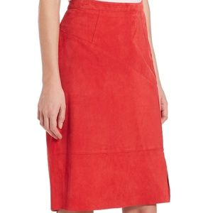 NWT Elie Tahari Women's Red Regina Suede Skirt